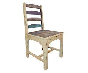 silla de madera u crema