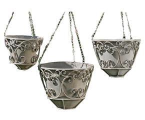 set de 3 porta macetas colgantes en metal lacado giulio