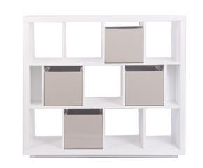 kensal estantera blanca con cajas en crema