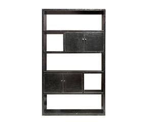 estantera con puertas de madera negra