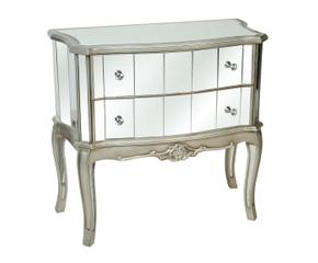 cmoda de madera con cajones u plata y espejo