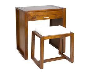 set de mueble tocador y banqueta en madera de mindi u nogal