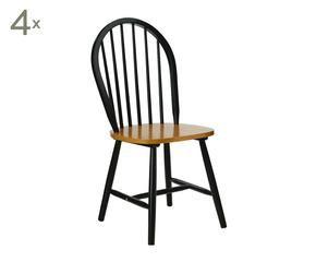 set de sillas en madera de caucho negro
