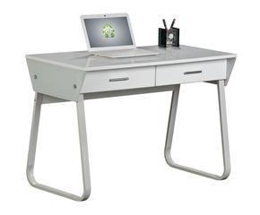 mesa onda blanco mesa de ordenador de cristal y metal blanco