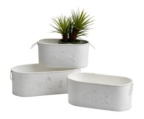 set de jardineras de metal u blanco
