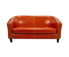 sof de plazas de madera y polipiel florencia naranja