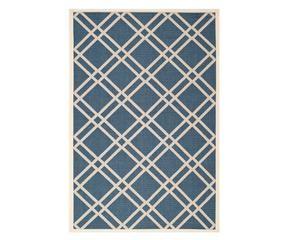tapis marbella bleu marine et beige 231160 - Tapis Bleu Marine