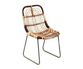 chaise yael rotin et mtal brun l62 - Chaise En Rotin