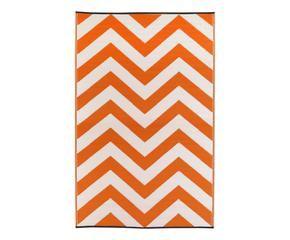 tapis gena pailles de plastique recycl orange et blanc 15090 - Tapis Orange