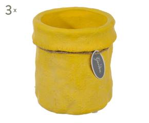 Cache pot jaune moutarde