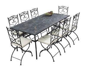 Tavoli da giardino rotondi per esterni eleganti dalani e ora westwing - Tavoli da giardino in ferro battuto e mosaico ...