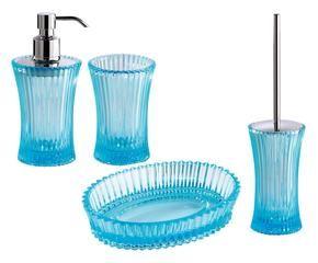 set accessori da bagno in vetro lace trasparente blu 4 pz