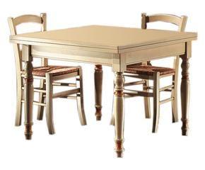 Tavolo quadrato allungabile in legno stile in sala for Tavolo quadrato