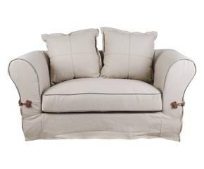 divano 2 posti in cotone e lino impero 155x88x86 cm