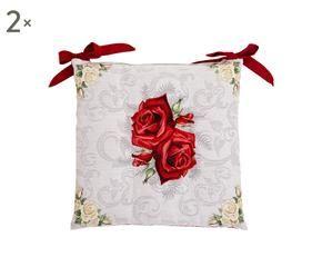 coppia di cuscini per sedie double face rose 41x41 cm