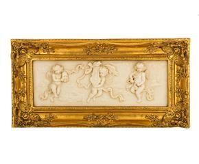cornice dorata con decoro a rilievo mansart 57x29x6 cm