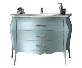 mobile bagno in pioppo con lavabo e maniglie svarowski 118x82x55 cm