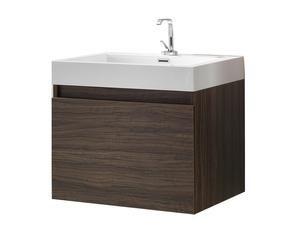mobile bagno a sospensione in legno weng con 1 anta e lavabo 60x54x48 cm