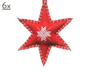 kerstster vilt rood set van 6