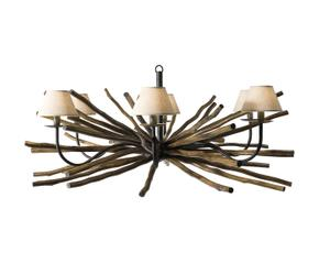hanglamp hout bruin en beige diameter 100 cm led verlichte takken