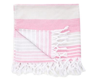 Telo/pareo bianco/rosa