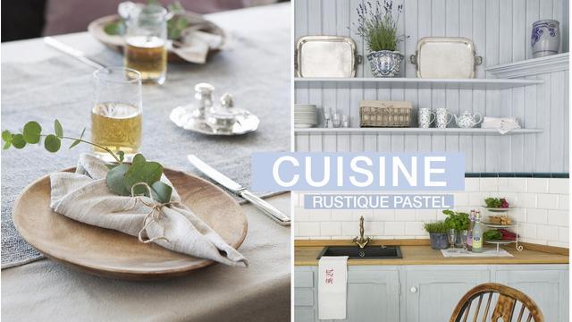 Une cuisine rustique et pastel