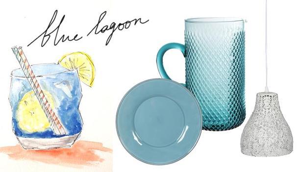 vaisselle plat vert bleu lagoon déco cocktail