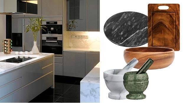 Bois et marbre dans la deco Cuisine en marbre & bois | Westwing