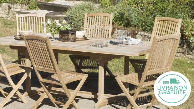 Beautiful salon de jardin teck livraison gratuite pictures for Table teck 6 8 personnes
