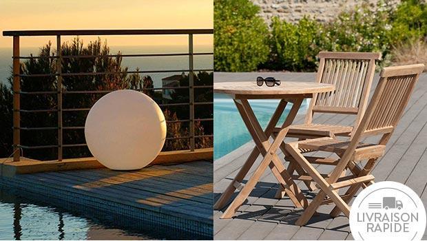 Luminaires outdoor et mobilier teck
