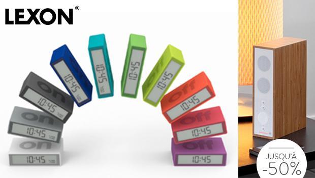 Lexon réveil bureau son haut parleur design couleur
