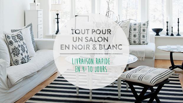 Salon noir/doré/blanc/argenté