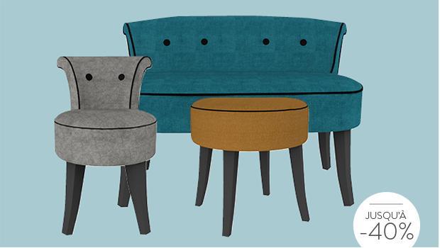 chaises poufs banquettes