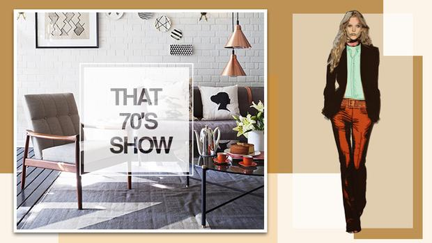 Retro meubels, funky prints & tapijten