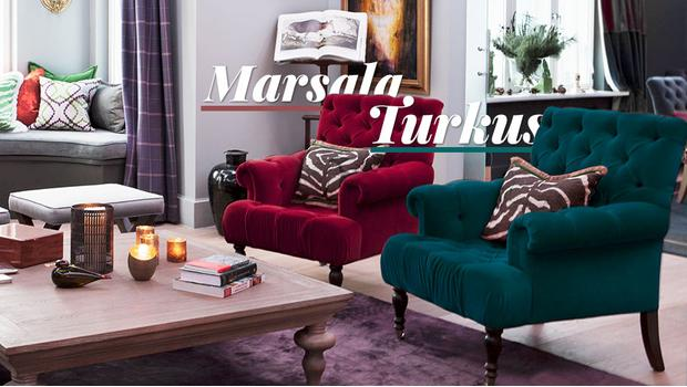 Marsala i turkus z połyskiem