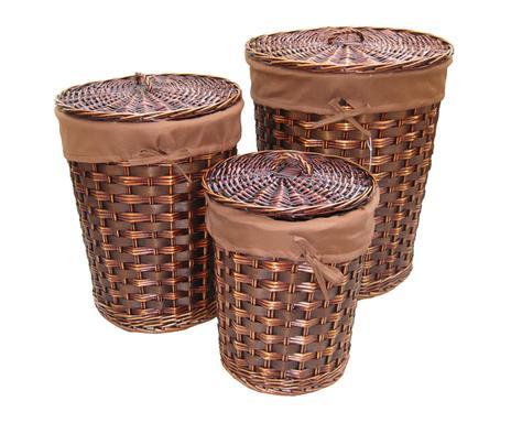 set de cestos de mimbre para la ropa redondos u nogal consultar