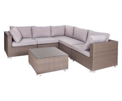 Canapé d'angle et 1 table basse de jardin