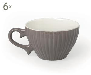 Набор из 6 чайных чашек Parisienne - фарфор - серый, 6,5х9,5 см
