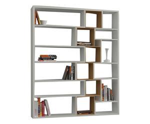 Libreria in nobilitato Roscoe bianco/noce