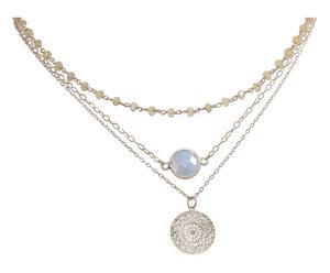 Versilberte Choker-Halskette Mandala