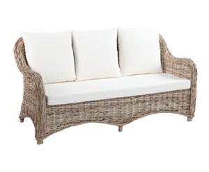 Sofá de 2 plazas en mimbre Katrina - natural y blanco
