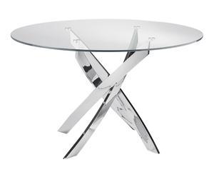 Mesa de comedor Losia - plateado y transparente, 120x75 cm