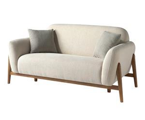 Sofá de 2 plazas en madera de pino Zheon - beige y natural