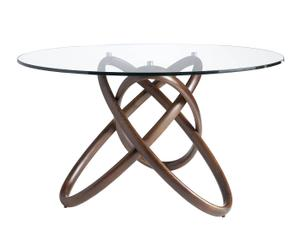 Mesa de comedor en madera de nogal y vidrio Suka - natural, 130x75 cm
