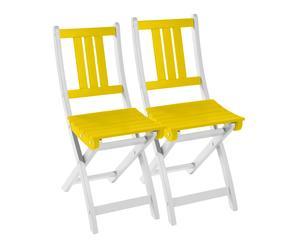 2 Chaises pliantes BURANO bois d'acacia, jaune limoncello - L50