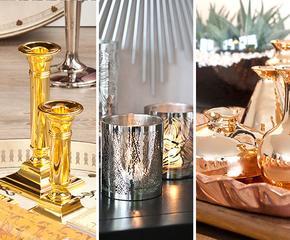 Błyszczące dodatki w kolorze złota, srebra i miedzi