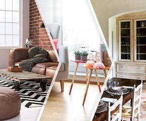 Nábytek a doplňky inspirované třemi styly