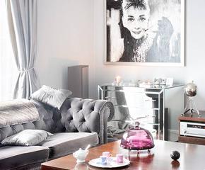 Połyskujące meble, dekoracje, tekstylia