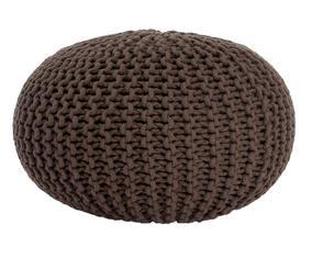 Puf de algodón tejido a mano, marrón oscuro - Ø55 cm