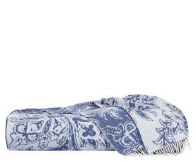 Plaid garzato in misto lana con frange panna/azzurro